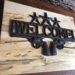 Cast Iron Welcome Sign with Guns (Revolvers)